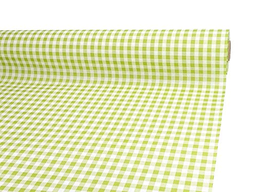 PAPIERTISCHDECKE Rolle stoffähnlich grün weiß kariert 1 m x 20 m - Design Landhaus grün