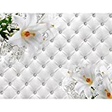 Fototapete Blumen 3D Lilien Weiß Vlies Wand Tapete Wohnzimmer Schlafzimmer Büro Flur Dekoration Wandbilder XXL Moderne Wanddeko Flower 100% MADE IN GERMANY - Runa Tapeten 9185010a