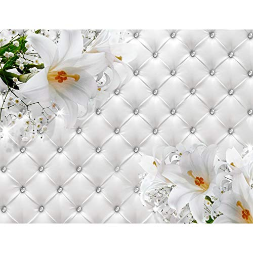 *Fototapeten Blumen 3D Lilien Weiß 352 x 250 cm Vlies Wand Tapete Wohnzimmer Schlafzimmer Büro Flur Dekoration Wandbilder XXL Moderne Wanddeko Flower 100% MADE IN GERMANY – Runa Tapeten 9185011a*