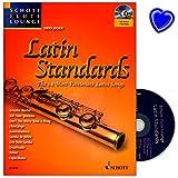 Latin Standards - The 14 Most Passionate Latin Songs - Willkommen an der Copacabana ! - Songbook für Flöte und Klavier mit CD und bunter herzförmiger Notenklammer