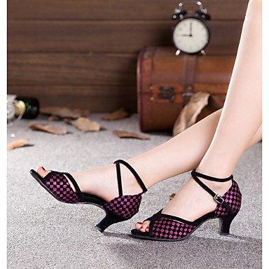 Wuyulunbi@ Le donne di Latino del Glitter scintillanti Paillette sandalo sintetico tacco prestazioni Sneaker Paillette colore di giunzione blocco tacco US8.5 / EU39 / UK6.5 / CN40