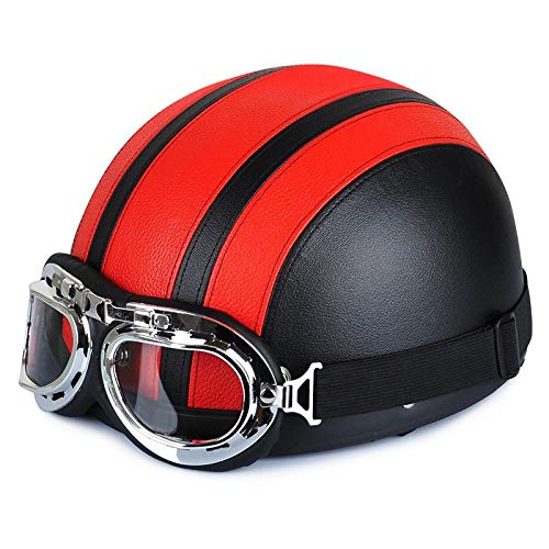 Casco da moto in pelle sintetica fumetto moto casco da motocross regolabile, [R