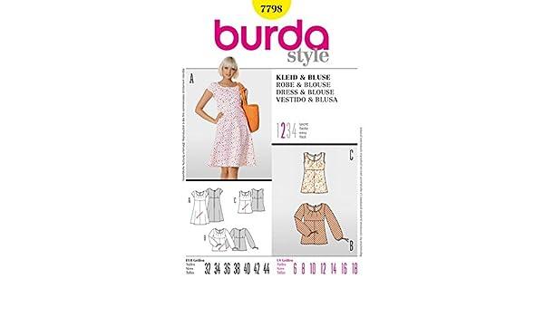 Level 2 leicht Burda 6527 Schnittmuster Bluse mit Kragenvariation Damen, Gr. 34-46