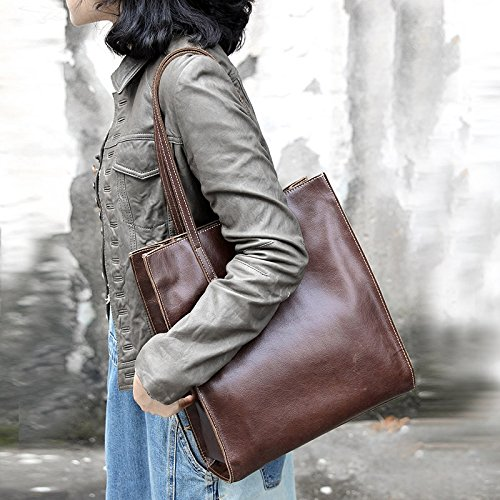 Sac à main épaule cuir simple sac à main sac à main de mode en cuir marron clair, Chestnut brown (Polished leather)