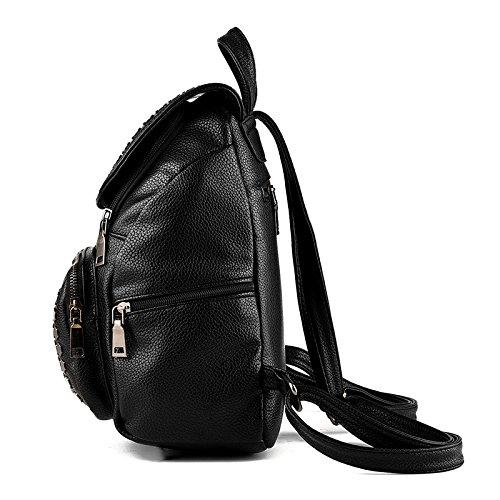 Saint Kaiko PU Leder Wanderrucksäcke Schulrucksäcke Rucksäcke Schulranzen Jungen Schulrucksäcke Jungen Schultasche Zum Reisen oder zur Schule Gehen (schwarz) rosa