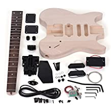 ammoon trousse de guitare inachevee bricolage electrique basswood corps palissandre manche erable conception speciale
