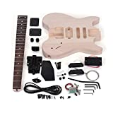 ammoon Electric Guitar DIY Unfinished Basswood Body Rosewood Fingerboard Kit Maple Neck Special