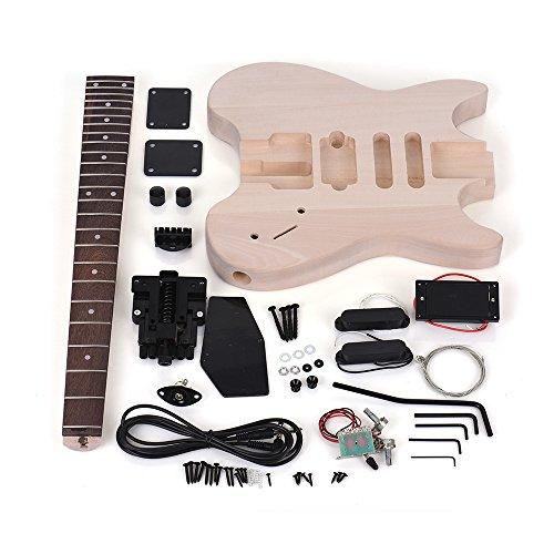 ammoon Guitarra Eléctrica Bricolaje sin Terminar Kit de Cuerpo de Tilo Diapasón de Palisandro Cuello de Arce Diseño Especial sin Cabezal