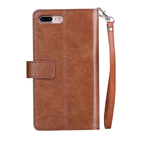 Xinan longjb per iPhone 7Plus, Lusso Fashion Wallet Stand Case 9in PU Pelle Protettiva Cover con chiusura a zip & Lanyard & Kick Stand Xinan longjb marrone