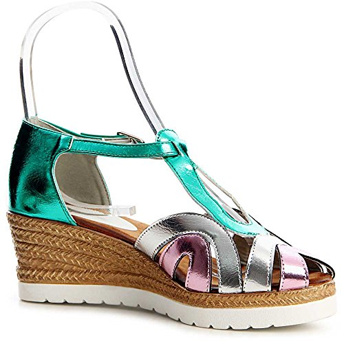 Damen Riemchen Sandaletten Keilabsatz 1186 Grün