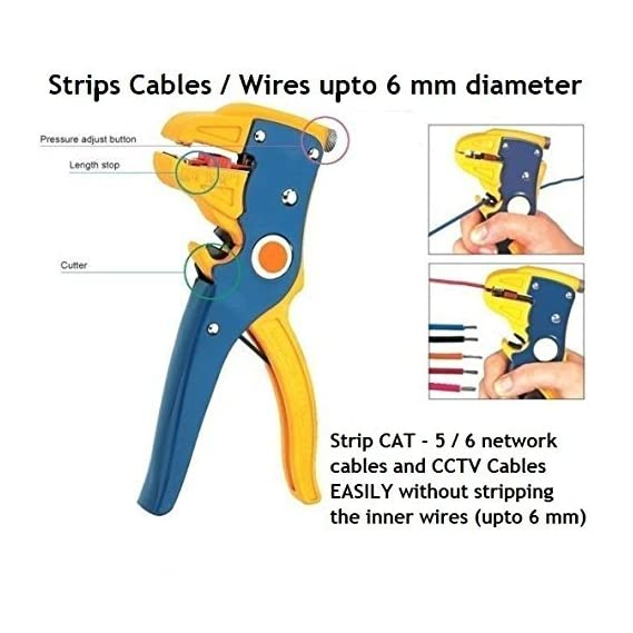 Inditrust Self Adjusting Cable/Wire Cutter Stripper - Automatic Stripping Tool - Works for Cables up to 6 mm