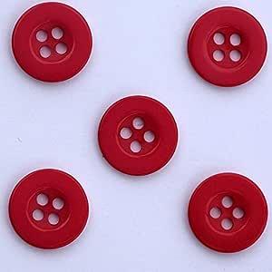 Lot de 10 Rouge Boutons Unis avec 4 Trous en Resine 13mm