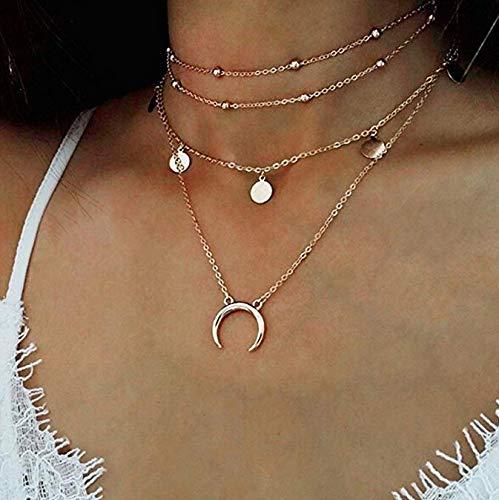 GONO - collana da donna, multistrato, con ciondolo, esclusiva e alla moda