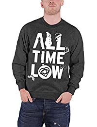 All Time Low Homme Christmas Sweat-Shirt Charcoal Xmas Logo officiel