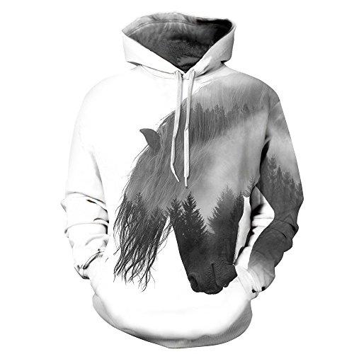 URVIP Unisex 3D Druck Muster Langarm Kapuzenpullover Hoodie Sweatshirt Weihnachten Halloween Hoodie Kapuzenjacke mit Tasche QYDM300 Pferd S/M