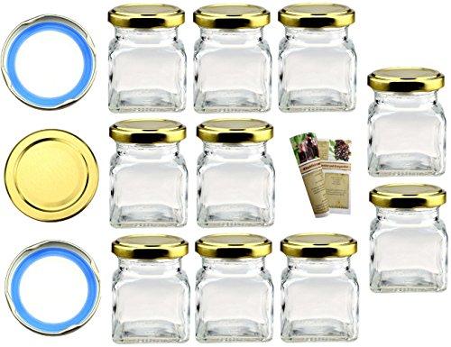 """Flaschendiscount 20 leere eckige Einmachgläser """"Quadrat"""" 120 ml incl. Drehverschluss Gold BLUESEAL, Vorratsgläser, Marmeladengläser, Einkochgläser, Gewürzgläser, Einweckgläser (20, Deckel Gold)"""