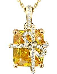MARENJA-Regalo San Valentín Collar Mujer de Moda-Colgante Caja de Regalo con Cadena-Joya Chapada en Oro con Cristal