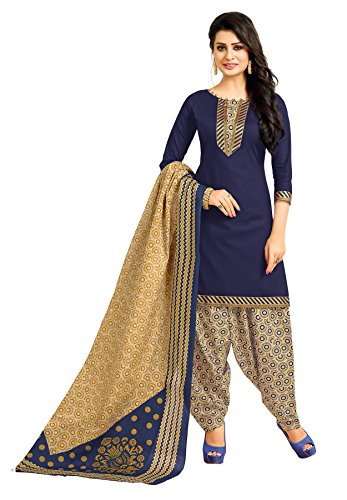 Salwar House Women's Blue & Multicolor Cotton Printed Unstitch Dress Material Salwar...