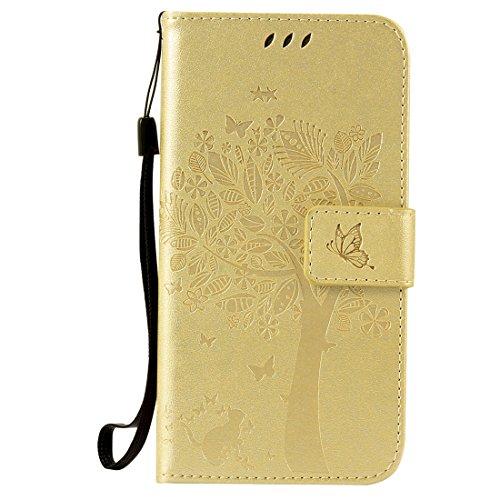 Nancen Compatible with Handyhülle Galaxy S5 / I9600 SM-G900F (5,1 Zoll) Flip Schutzhülle Zubehör Lederhülle mit Silikon Back Cover PU Leder Handytasche im Bookstyle Stand Funktion