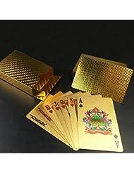Cartas de póquer de oro a prueba de agua Jugando a las cartas cartas de póquer profesional de plástico de alta calidad para su placer de póquer.