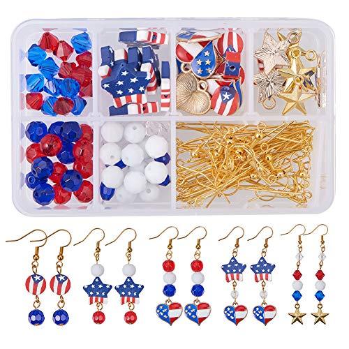 SUNNYCLUE 1 Box DIY 12 Paar USA amerikanische Flagge patriotisch rot blau baumeln Ohrringe Machen Kit 4. Juli Unabhängigkeitstag Geschenk (Patriotische Ohrringe)