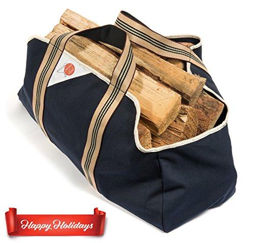 *Firecorner – Kaminholztasche, Holzkorb, Tragetasche für Brennholz oder Kaminholz mit breiten bequemen Griffen*
