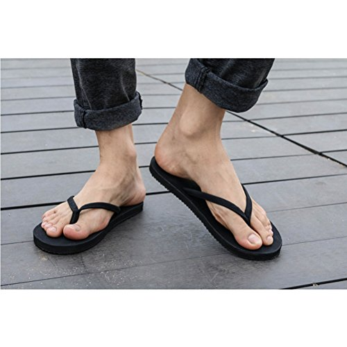 Zhhlinyuan Adults Comfortable Non-slip Slippers Fashion Unisex Beach Flat Shoes Black