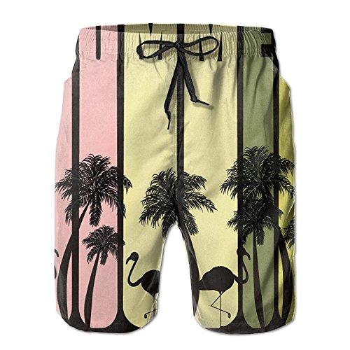 xiangwangdeli Summer Flamingo Men's Summer Fast Dry Beach Shorts Swimming Trunks Surfing Running Board Shorts XX-Large -