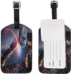 Weltraum Planet Erde Mars Meteorit Komet Kofferanhänger für Gepäck Koffer Tasche Travel Label Leder