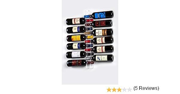 Cantinetta Portabottiglie di vino da parete per 12 Bottiglie in Plexiglass trasparente Portabottiglie vino da muro Design Moderno 90 x 600 mm