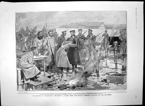 Antiker Druck der Auflehnung Kronstadt Seemann Arthur James Balfour 1905 Suchend