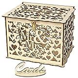 XLGX Boîte de Cartes de Mariage Rustique Creuse en Bois avec Verrou et Panneau de Carte pour Mariage et Fêtes Prénatales (A)