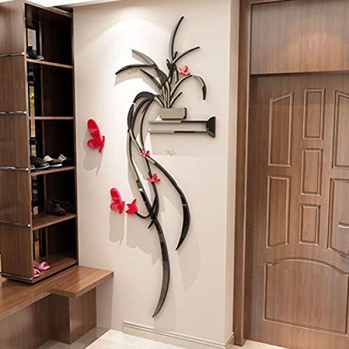 XIAOKEAI3D Schmetterling Blume Acryl gespiegelt dekorative Aufkleber Eingang Kunst Hintergrund Spiegel Wandtattoos Dekor,90 cm x 187 cm