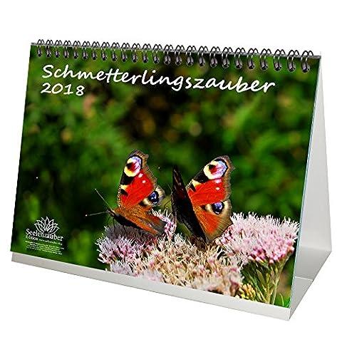 Premium Tischkalender / Kalender 2018 · DIN A5 · Schmetterlingszauber · Schmetterling · Blüten · Farben · Edition Seelenzauber