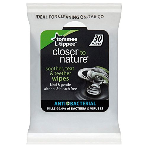 Tommee Tippee Closer To Nature Soother, Teat, Teether Wipes 30 per pack