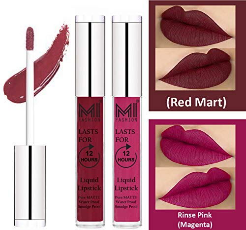 Liquid Lipsticks for Women by MI Fashion®|Red Mart Liquid Lip Gloss Lipstick,Magenta Liquid Lipstick|Pure Matte|Water Proof|Smudge Proof|and |Long Lasting| Set of 2 Lipsticks