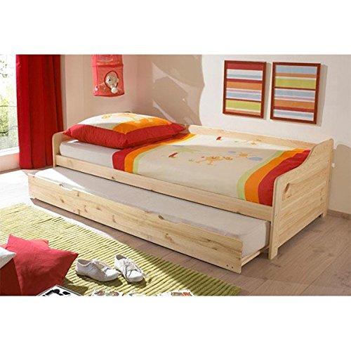#Funktionsbett 90*200 inkl 2 Rollroste Kiefer massiv natur Gästebett Gästeliege Kinderbett Jugendliege Tandembett Massivholzbett Kinderzimmer#