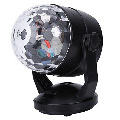 Delaman 3W Mini Discokugel Bunt Batterie LED RGB Bühnenlicht Stimme Aktiviert mit rotierendem Lichteffekt für Disco Party Stage Lichteffekte, USB-Kabel