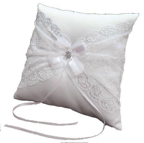 Strass Tüll (LadyMYP© Romantisch verziertes Ringkissen mit breiter, feine Spitze und Blüte aus funkelndem Strass und Tüll, (Weiß))