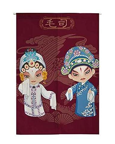 Style de l'opéra chinois Demi-rideau Rideau de salle de bains Garde-corps d'eau Valance, Poupées