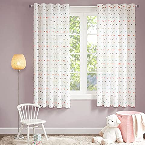 MIZONE KIDS Chloe High-end Eyelet Voile Curtains, Semi Sheer Curtains,