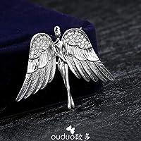 KUNQ Süße Brosche/Europäische Top - Männlichen - Brosche Engel Flügel Koreanischen Version Wasser Läuft Brosche Pulli Jacke Pin Anzug Retro - Marke.