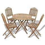 vidaXL Bambus Sitzgruppe Gartenmöbel Garnitur Terassenmöbel Tisch + 4 Stühle