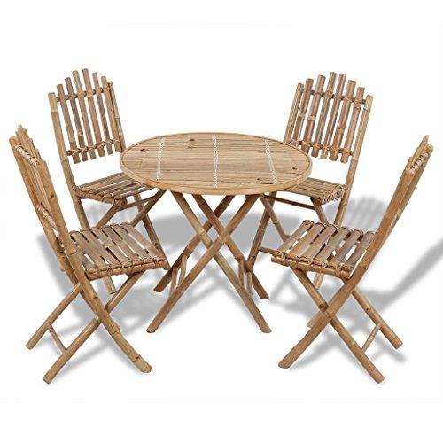 Tidyard 5-TLG. Gartenmöbel Set Garten Sitzgruppe Klappbar Essgruppe Gartengruppe Sitzgarnitur Faltbar aus Bambus inkl. 1 Klapptisch + 4 Klappstühle - Bambus Set Klapptisch