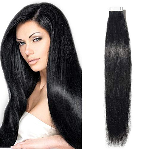 Extension biadesivo capelli veri adesive 10 fasce biadesive tape extensions 100% remy human hair neri umani lisci 25g/pack senza clip (40cm, nero intenso)