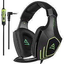 [2017 SUPSOO Recientemente Multi-Plataforma Sobre Oído Xbox One PS4 Estéreo Juego Auriculares]SUPSOO G820 Bass Gaming Headsets con micrófono de aislamiento de ruido para Xbox nuevo PS4 PC portátil Mac iPad iPod (negro y verde)