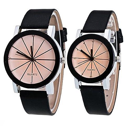 Cuitan Couples 2 x Montre avec PU Cuir Bracelet, Hommes et Femmes Montre Mode Pointeur Montre à Quartz Rond Cadran Montre Watches pour Couples - Grands et petit Blanc Cadran(Noir Bracelet)