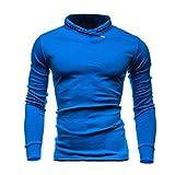 Hombres de manga larga, Manadlian Tops de otoño e invierno para Hombres Sólido Sudaderas con mangas largas Blusa (M, Azul)