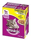 Whiskas Katzenfutter Portionsbeutel Variationen mit Gefluegel in Gelee 100g, 4er Pack (4 x 100 g)