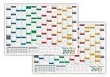 Rainbow Wandkalender / Wandplaner 2018 + 2019 - gerollt DIN A0 Format (841 x 1189 mm) mit 14 Monaten, kompletter Jahresvorschau Folgejahr und Ferientermine/Feiertage aller Bundesländer